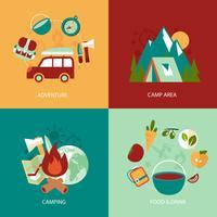 Camping platta ikoner uppsättning