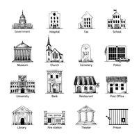 Regeringsbyggnad ikoner uppsättning vektor