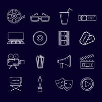 Cinema ikoner som skisseras vektor