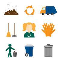 Müll Symbole flach