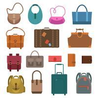 Väskor färgade ikoner uppsättning