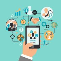 Geschäftshand mit Smartphone vektor