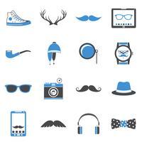 Hipster ikoner uppsättning vektor