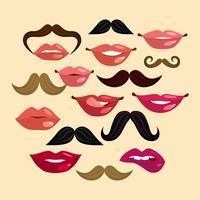 Läppar och mustasch vektor