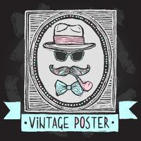 Vintage hattar och glasögon affisch vektor