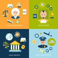 Gesetz flache Icons Set