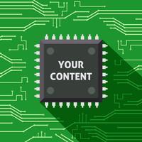 Microchip ditt innehåll platt bakgrund vektor