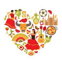 Spanien hjärtatryck vektor