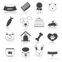 Husdjur ikoner sätta svart vektor