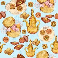 Orientalisk sötsaker sömlös bakgrund
