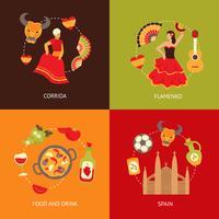 Spanien Icons Zusammensetzung Set vektor