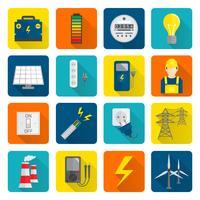 Strom-Energie-Ikonen eingestellt