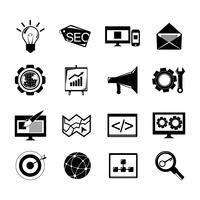 SEO ikoner sätta svart vektor
