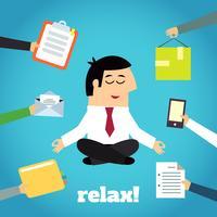 Affärsman Yoga Relaxing vektor