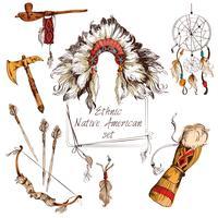 Etnisk infödd amerikansk uppsättning färgad vektor