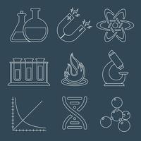 Fysik vetenskap ikoner platt