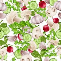 Gemüsemischung nahtlose Muster vektor