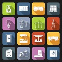 Energi ikoner platt uppsättning