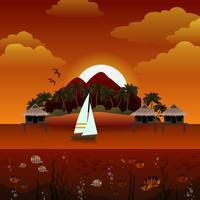 Tropisk ö solnedgång bakgrund vektor