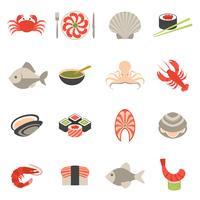 Fiskesymboler satt platta vektor