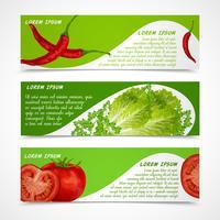 Grönsaker banderoller horisontella vektor