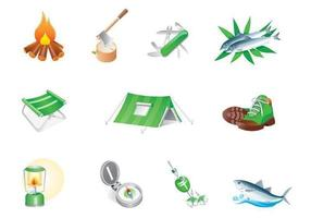 camp icon vector pack