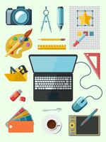 Designer ikoner på arbetsplatsen vektor