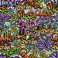 Graffitiord sömlöst mönster