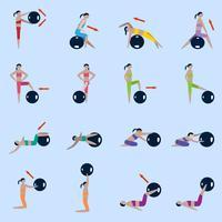 Fitness boll ikoner uppsättning
