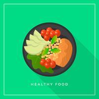 Flache gesunde Mahlzeitnahrungsmittel-Vektor-Illustration