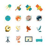 Satellit ikoner uppsättning vektor