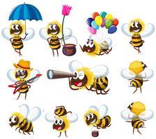 Bienen in verschiedenen Aktionen vektor