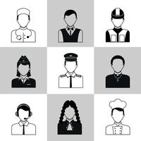 Professioner avatar ikoner svart uppsättning vektor