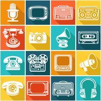 Retro media ikoner vektor