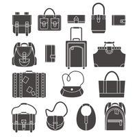 Väskor ikoner uppsättning