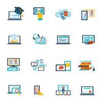 E-lärande ikon platt