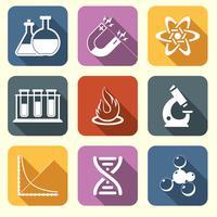 Physik Wissenschaft Symbole flach