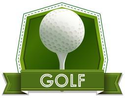 Etikettendesign mit Golfball und Stift vektor