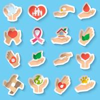Välgörenhets- och donationsklistermärken vektor