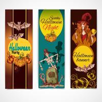 Halloween färgade banners vertikala vektor