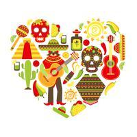 Mexiko dekorativa ikoner uppsättning vektor
