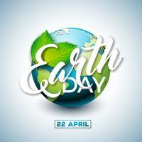Tag der Erde-Illustration mit Planeten und grünem Blatt. Weltkartehintergrund am 22. April Umweltkonzept.