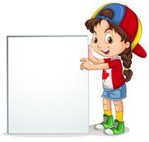 Kleines Mädchen, das Zeichen hält