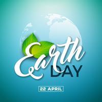 Tag der Erde-Illustration mit Planeten und grünem Blatt. Weltkartehintergrund am 22. April Umweltkonzept