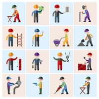 Bauarbeiterikonen flach vektor
