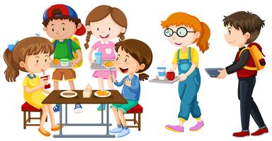 Kinder beim Mittagessen am Tisch vektor
