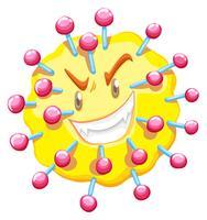 Viruscell med monster ansikte