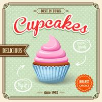 Cupcake retro affisch vektor