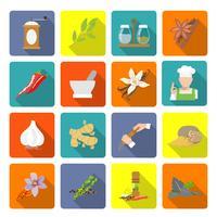 Kryddor ikoner platt