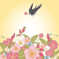 Weinlese blüht Hintergrund mit Vogel vektor